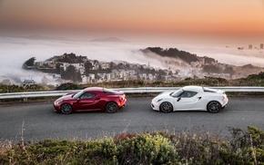 Alfa Romeo 4C, landscape, car, Alfa Romeo 4C Spider, mist, Alfa Romeo
