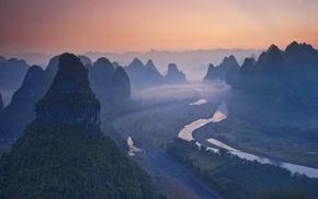 landscape, China, river, sunrise, forest, nature