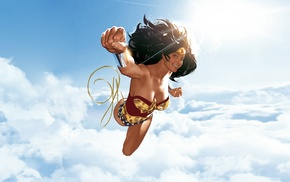 Wonder Woman, clouds, superhero, Adam Hughes, DC Comics, illustration