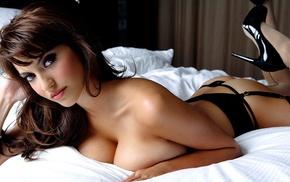 model, brunette, francoise boufhal, natural boobs, high heels