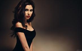 cleavage, dark eyes, girl, Ivan Gorokhov, black dress, red lipstick