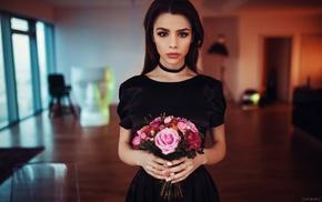 dress, model, portrait, brown eyes, brunette, Maria Way