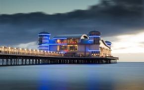 sea, long exposure, lights, building, England, landscape