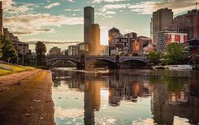 Melbourne, skyscraper, kayaks, building, bridge, trees