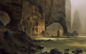 cliff, sea, mist, digital art, rock, warrior