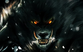 fangs, creature, fantasy art, orange eyes, animals, werewolves