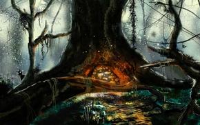 branch, water, lianas, mushroom, digital art, fantasy art