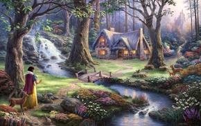 artwork, lights, Snow White, castle, flowers, deer