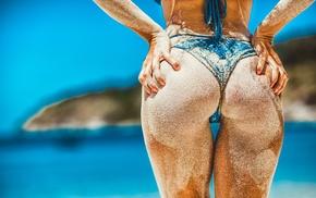 bikini, buns, model, colorful, girl, hands on ass