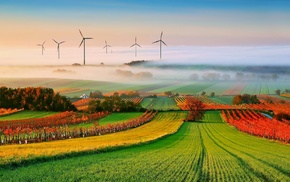 clouds, mist, landscape, field, trees, wind turbine