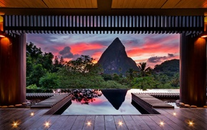 sunset, forest, St. Lucia, nature, clouds, hotels