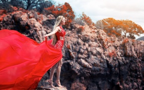 open mouth, trees, red dress, windy, nature, long hair