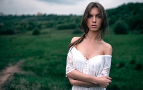 brunette, girl outdoors, long hair, model, Georgiy Chernyadyev, girl