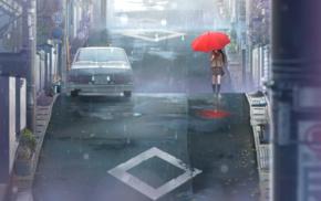 Aozaki Aoko, street, umbrella, anime girls, anime, Mahoutsukai no Yoru