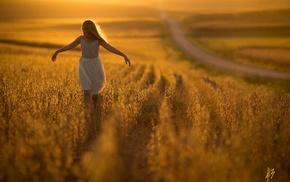 Nebraska, landscape, Jake Olson, children, girl, sunset