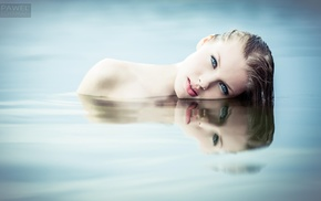eyes, girl, wet body, human body, sensual gaze