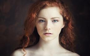 girl, eyes, model, portrait, face, freckles