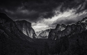 Yosemite Valley, mountain, El Capitan, Yosemite National Park, monochrome, landscape