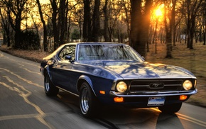 Ford, sunset, muscle cars, Ford Mustang, road, car