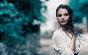 red lipstick, wet hair, rain, water, long hair, model