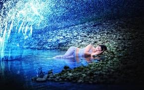 girl outdoors, white clothing, splashes, wet clothing, lying down, brunette