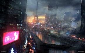 fantasy art, cyberpunk, Eiffel Tower, video games