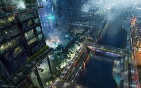 cyberpunk, rain, fantasy art