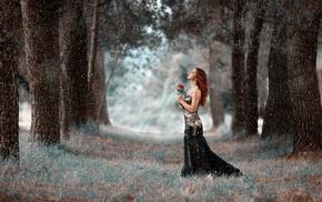 snow, looking up, girl, black dress, model, long hair