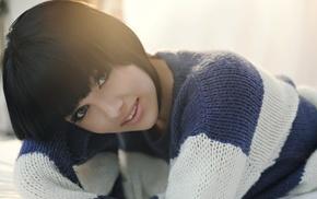 model, brunette, blue eyes, sweater, girl, Melissa Clarke