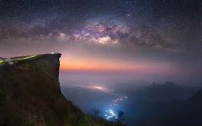 landscape, long exposure, lights, space, mist, abyss