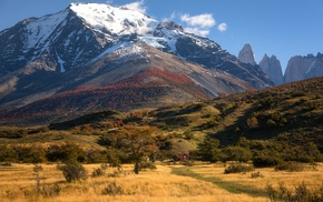 Chile, nature, mountain, cottage, grass, trees