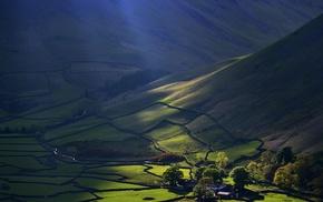 sun rays, farm, nature, landscape, mountain