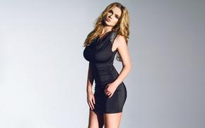 natural boobs, model, Lauren Hanley, gray background, blonde