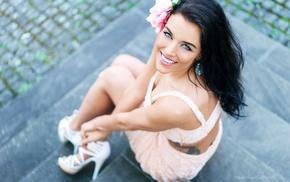 flower in hair, blue eyes, Gina Carla, model, girl outdoors, brunette