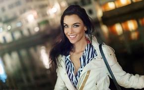 blue eyes, Gina Carla, brunette, model, smiling, girl outdoors