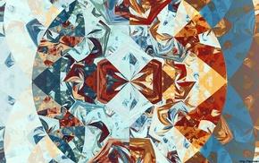 abstract, digital art, fractal, symmetry, Apophysis, triangle