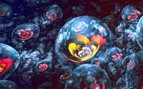 sphere, 3D, digital art, fractal flowers, Apophysis, fractal
