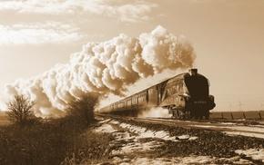 sepia, steam locomotive, vehicle, train