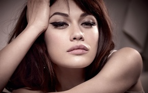 face, long hair, makeup, brunette, Olga Kurylenko, looking at viewer