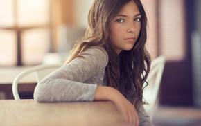 brunette, table, model, brown eyes, chair, sitting