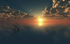 sunrise, water, sun rays, reflection, branch, horizon
