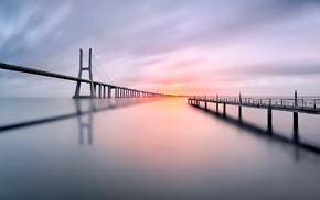 water, Vasco da Gama Bridge, shadow, Lisbon, calm, bridge