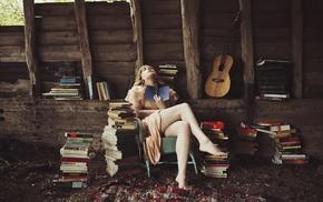 model, books, girl, guitar