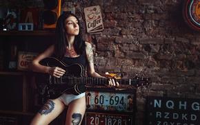 girl, model, white panties, guitar