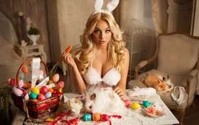 Easter, lingerie, open mouth, rabbits, natural boobs, sitting