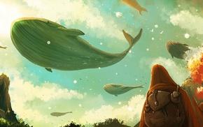 backpacks, flying, surreal, atmosphere, artwork, whale