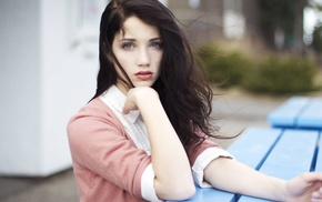 looking at viewer, Emily Rudd, face, sensual gaze, windy, hair in face
