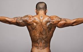 gray background, men, muscles, tattoo, Bodybuilder