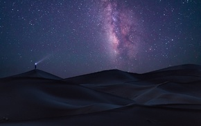 long exposure, dune, starry night, Milky Way, space, Sahara