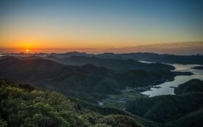 lake, forest, landscape, villages, nature, sunrise